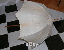 1880`s victorian Linen Parasol Umbrella Embroidered Carved Handle