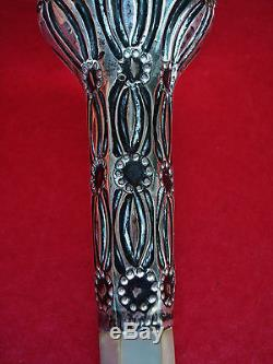 1914 Hull Sterling Silver & Pearl Parasol Umbrella Handle Cane Swagger Stick