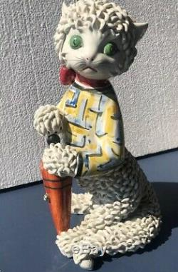 1950 Vintage Hand Made Collectible Italian Pottery 12 Cat With Umbrella Mouse