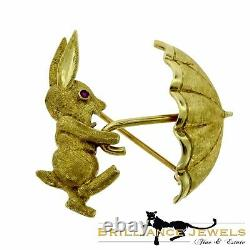 1960's Vintage Cartier Gold and Ruby/ Brooch Rabbit with Umbrella With Papers