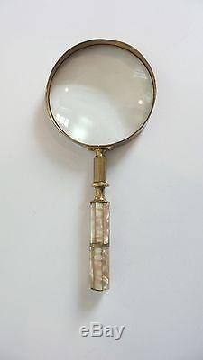 Antique Brass & Mother-of=pearl Umbrella / Parasol Handle Magnifying Glass