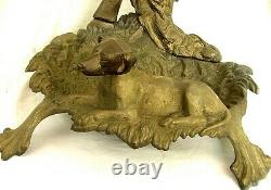 ANTIQUE CANE UMBRELLA STAND w FULL BODIED DOG, RIFLE, HUNTING HORN c. 1880