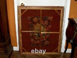 ANTIQUE FRENCH ROYAL LARGE FRAMED Needlepoint Tapestry Lady Dogs Sun Umbrella