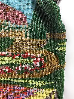 Antique Micro Beaded Bag Purse Large VIVID Colors Lady And Umbrella In Garden