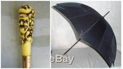 ANTIQUE UMBRELLA With BOVINE BONE'A THOUSAND FACES' HANDLE AND 9ct GOLD COLLAR