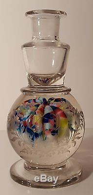 Amazing ANTIQUE Millville INKWELL RAINBOW Colored UMBRELLA With LOVELY ETCHINGS
