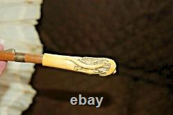An Antique French Doll Umbrella, Parasol, MID 1800's, Ivory Handle, Silk Lace