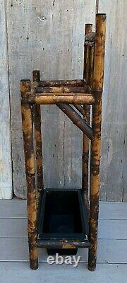 Antique 19th c. English Arts & Crafts Tiled Tortoise Shell Bamboo Umbrella Stand
