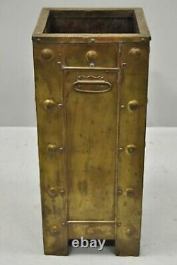 Antique Arts & Crafts Baronial Brass Eagle Wood Lined Umbrella Cane Stick Stand