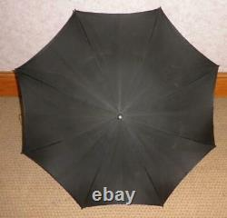 Antique Black Canopy Umbrella With Mother Of Pearl & Sterling Silver Handle PAM