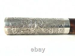 Antique Chinese Sterling Silver Hand Crafted Dragon Cane Umbrella Handle