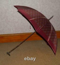 Antique Gold Plated Bovine Horn Hares Head With Glass Eyes Top Burgundy Umbrella