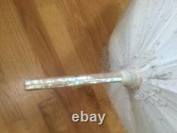 Antique Lace Parasol Umbrella Mother of Pearl Handle and Top 27 Long Beautiful
