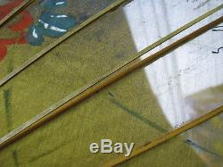 Antique Or Vintage Japanese Shade Umbrella Japan Bamboo Flowers Cloth