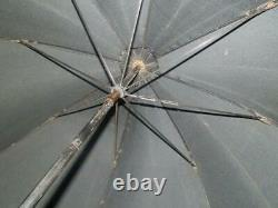 Antique Silk Canopy Mourning Umbrella With Ebonised Engraved Handle And Ball End