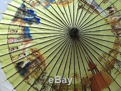 Antique Silk Parasol Painted Green Chinese Silver Handle Bamboo 1920s Umbrella