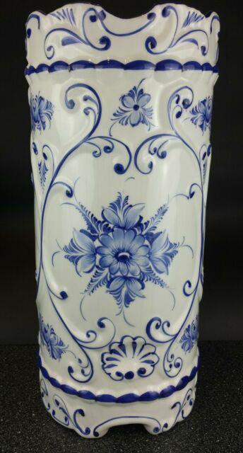 Antique Umbrella Stand / Vintage Cane Holder Hand Painted Portugal Rccl Gorgeous