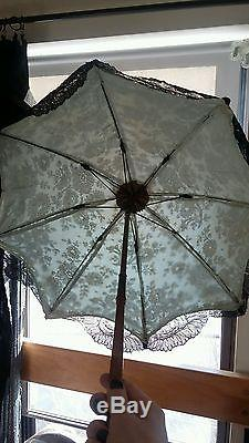 Antique Victorian Chantilly Lace Sea Green Carriage Parasol Umbrella Mourning