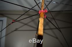 Antique Victorian Umbrella Parasol Hand Carved Wood Bird Glass Eyes Handle Rare