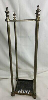 Antique Vintage Brass Umbrella Or Walking Stick Stand With Cast Iron Base 26