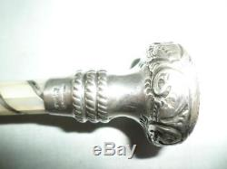 Antique/Vintage Ladies Umbrella- Sterling Silver & Mother of Pearl- Black Canopy