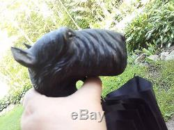 Antique, carved wooden Dog Handle Umbrella 2(schnauzer or another terrier)