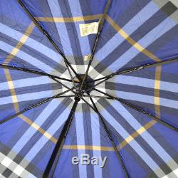 Authentic BURBERRY Check Pattern Folding umbrella Blue Polyester Vintage RK13529