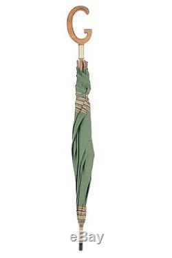 Authentic GUCCI Rare VINTAGE Green Fabric UMBRELLA with G-Shaped HANDLE