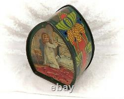 Edwardian Carr & Co Biscuit Tin Box-Girl with Umbrella and Puppy-Vintage/Antique