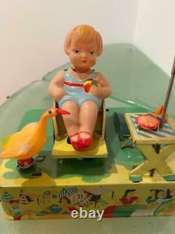 Japan Vtg Celluloid Wind Up Toy Happy Life Alps Beach Girl Goose Umbrella VIDEO