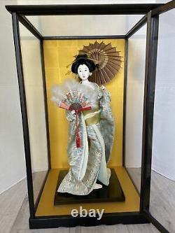 Japanese Vintage Geisha Doll with Kimono, Fan And Paper umbrella in display case