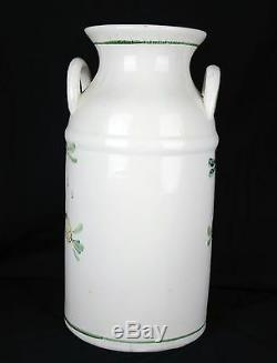 Lg Vintage umbrella or cane stand Painted Ceramic Flowers Signed 18'' Tall
