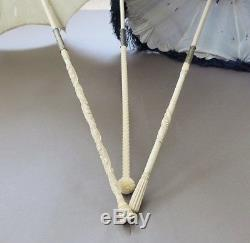 Lot Of 3 Antique French Lady Folding Parasol Umbrella Silk Carved Belle Epoque