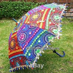 Lot of 100 pcs Indian Embroidered Cotton Vintage Colorful Summer Protect Parasol