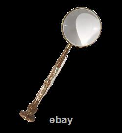 Magnifying Glass 1890s Parasol Umbrella Handle Gold Filled Mother of Pearl