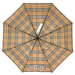 NEW BURBERRY VINTAGE CHECK FOLDING COMPACT UMBRELLA WithCOVER