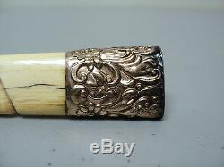 NICE 19th CENTURY VICTORIAN PERIOD UMBRELLA HANDLE, ROLLED GOLD TOP