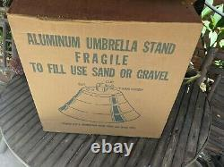 New old stock Vintage MCM Aluminum Stepped Patio Umbrella Stand 1960/70s