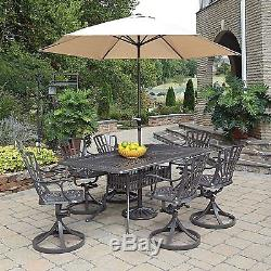 Outdoor 7Pc Patio Furniture Set Vintage 6 Swivel Chairs & Table WithUmbrella Hole