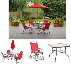 Outdoor Dining Set 6-Piece Folding Red Umbrella, Table & 4-Chairs Patio Vintage