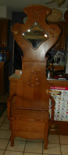 Quartersawn Oak Hall Tree Chair With Umbrella Stand And Storage (mr34)