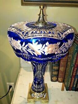 Signed Dresden Crystal Vintage LAMP Cobalt Blue Cut to Clear Sawtooth Umbrella