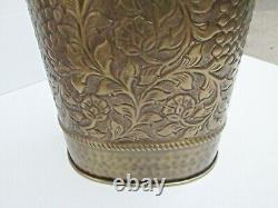 Solid Brass Umbrella Stand Oval Embossed