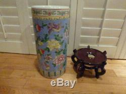 Stunning Vintage Asian Hand Painted Porcelain Umbrella Stand 24H X 8.5