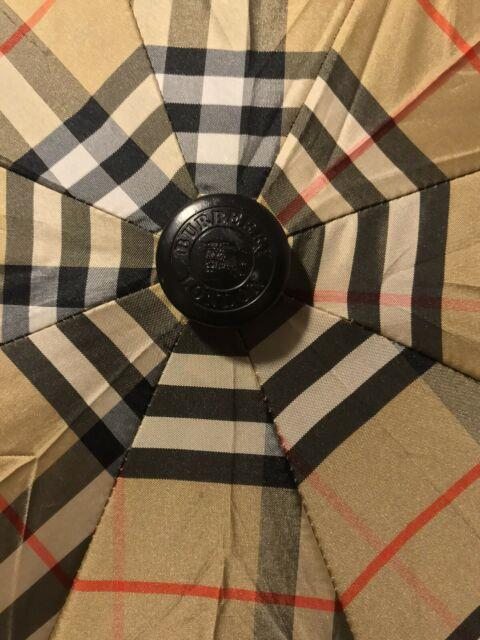 Vintage Burberry Classic Plaid Folding With Wood Handle Rare! 9/10 Condition