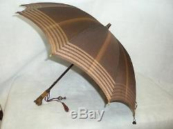 VINTAGE LADIES UMBRELLA With CARVED DOG HEAD GLOVE HOLDER BY KENDALL