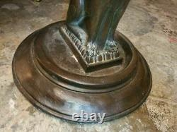 VINTAGE UMBRELLA STAND With LION METAL AND CARVED WOOD BEAUTIFUL AND WELL MADE