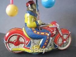 VTG 1950's Japan Tin Friction Circus Monkey with Umbrella Motorcycle Toy Clean
