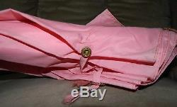 VTG Antique Woman's 14K Rolled Plate Gold Mother of Pearl Pink Umbrella Parasol