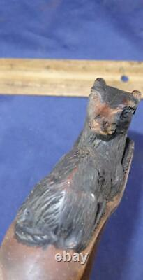 Very RARE Victorian Parasol Umbrella with Hand Carved Dog Head Handle Black Lace